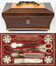 Antique French Palais Royal Sewing Box ~ Mother of Pearl Scissors, Needle Case, Etc., very fine ~ Gold Trim Vintage Sewing Notions, Antique Sewing Machines, Embroidery Tools, Sewing Baskets, Needle Case, Antique Boxes, Sewing Accessories, Sewing Crafts, Sewing Tools