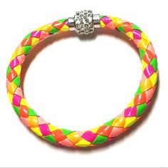 Multicolor braided bracelet magnetic crystal clasp Multicolor braided bracelet with magnetic crystal clasp 8 inches Jewelry Bracelets