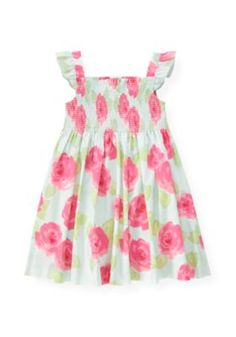 Pintucked Rose Floral Dress
