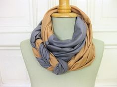knot and sew two scarfs together for a beautiful new scarf.