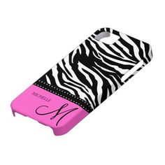 Personalized Pink and Black Zebra stripes iPhone 5 case.  Add your name and monogram. #iphone5 #zebra