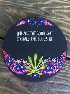 Items similar to Stoner Art Rainbow Marijuana Cannabis Psychedelic Wall Hanging Home Decor Weed Maryjane Embroidery on Etsy Hippie Painting, Trippy Painting, Hippie Drawing, Cross Stitching, Cross Stitch Embroidery, Arte Punk, Vinyl Record Art, Stoner Art, Stoner Room