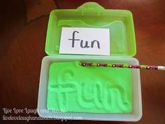 This is an excellent​ manipulative for students to use while practicing Spelling/Sight Words. I would probably have a couple of these sandboxes at a center for students to practice their spelling/sight words. Sight Word Activities, Literacy Activities, Educational Activities, Spelling Activities, Word Games, Literacy Centers, Listening Activities, Spelling Ideas, Sight Word Practice