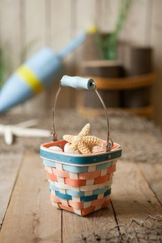 Longaberger Coral Reef Little Bucket Basket. Get it before June 30. #sand #surf and #save