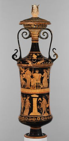 Loutrophoros (ceremonial vase for water), ca. 340–330 b.c.; red-figure  Attributed to the Darius Painter (Greek, active ca. 340–330 b.c.)  Greek, South Italian, Apulian  Terracotta