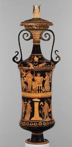 Loutrophoros (ceremonial vase for water), ca. 340–330 b.c.; red-figure Attributed to the Darius Painter (Greek, active ca. 340–330 b.c.) Greek, South Italian, Apulian Terracotta