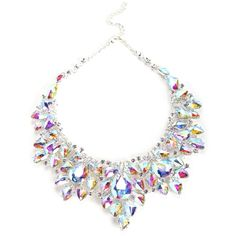 Silver Iridescent Crystals Statement Necklace ($27) ❤ liked on Polyvore featuring jewelry, necklaces, accessories, silver jewellery, iridescent necklace, silver necklace, iridescent jewelry and bib statement necklace