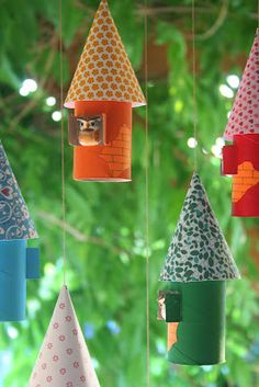 "Paper towel tube birdhouses ~ super cute! #diybirdhouse #kidcraft #craftpaperprojects  ***I pinned this cos I mentally pictured what would happen when it rains! Do ""Angry Birds"" fly out? Or is this where paper birds lay paper eggs!  TOO FUNNY!"