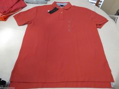 Mens Tommy Hilfiger Polo shirt L large solid NEW 7848707 Holly Berry 619 shrimp #TommyHilfiger #polo