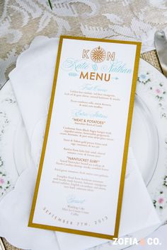 Menu Card with Compass Wedding Logo