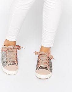 Lipsy Lidia Glitter Ribbon Lace Sneakers