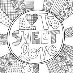 """love sweet love"" page 8 in my first colouring book ""Cats & Flowers, Flowers & Cats"" 🐱🌺, 🌸🐱 copies available in my Etsy shop (link in… Love Coloring Pages, Free Adult Coloring Pages, Colouring, Coloring Books, Susan Black, Cat Flowers, Hand Drawn Type, Love Is Sweet, Line Drawing"