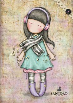 Lost in music Cute Images, Cute Pictures, Santoro London, Kawaii, Illustration Girl, Copics, Cute Dolls, Cute Drawings, Cute Wallpapers