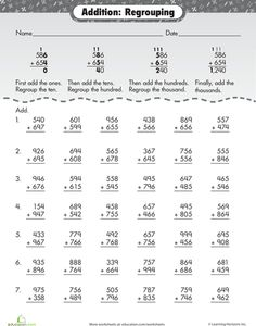 Worksheets: Extra Practice: Three-Digit Addition with Regrouping
