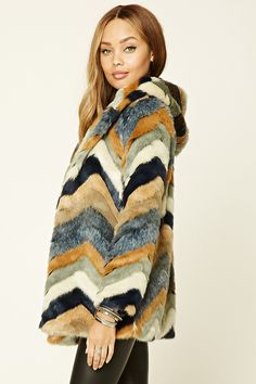 Chevron-Pattern Faux Fur Coat