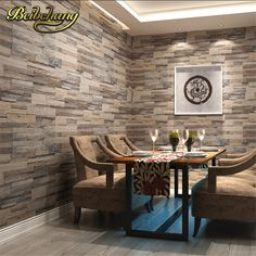 beibehang wallpaper wood brick pattern wallcovering pvc stone design wall paper vintage style papel de parede for home decora Brick Wall Wallpaper, Wallpaper Decor, Küchen Design, Wall Design, Brick Design, Design Ideas, Faux Murs, Fake Walls, White Brick Walls