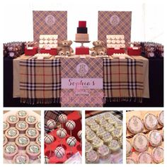 Burberry & Bears theme sweets table Sophia's birthday Sweets & Styling by Cuppy Puppy. Artwork (graphics) by Baby Shower Themes, Baby Boy Shower, Baby Shower Decorations, Shower Ideas, Burberry Bear, 22nd Birthday, Birthday Ideas, Bear Theme, Bear Party