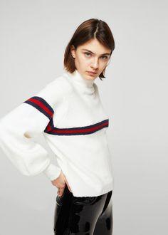 Striped contrast sweater | MANGO