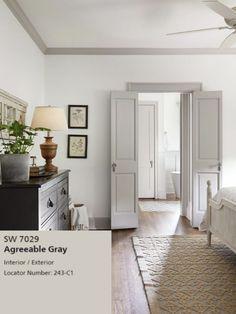 Interior Trim, Home Interior, Interior Design, Style At Home, Fixer Upper Bedrooms, Fixer Upper Living Room, Estilo Tudor, Grey Doors, Best Paint Colors