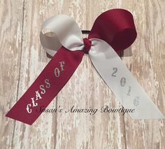 """School color (choose your own colors) """"Class of 2016"""" long tail hair bow by susansamazingbows on Etsy"""