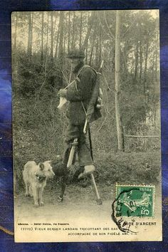 CPA 40 Berger Landais Tricottant Echasses Shepherd Stilts Guillier Old PC 1910. Habetrot collection.