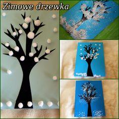 zimowe drzewka, prace zimowe, zimowe drzewa z dzieckiem, zimowe drzewa prace plastyczne