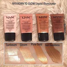 Glow on, babes! ✨ @beautiaholics shares our Born to Glow Liquid Illuminators in Sunbeam, Gleam, Pure Gold, and Sun Goddess ✨ || #nyxcosmetics