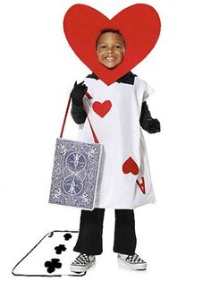 Diy Halloween Costumes for Kids Lovely Quick and Easy Ace Of Hearts Costume. Cute Costumes, Carnival Costumes, Halloween Costumes For Kids, Diy Halloween, Costumes Kids, Costume Ideas, Wonderland Costumes, Alice In Wonderland Party, Costume Alice