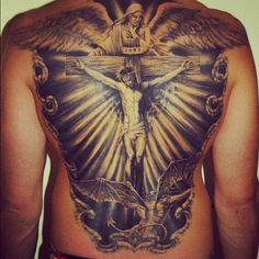 Jesus on the cross tattoo on the back