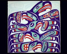 Day With an start to our day, we were blind until we got coffee but still managed to notice this great painting in the Convention Center by a local artist Haida Kunst, Haida Art, American Indian Art, Native American Art, Vancouver Art Gallery, Native Art, Native Indian, Canadian Art, Coastal Art