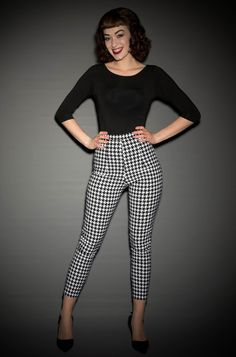 Deadly Dames Pinup Girl Cigarette Pants in Houndstooth at UK Stockists, Deadly is the Female - effortless bad girl chic!