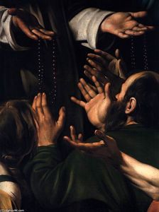 Learn more about Madonna del Rosario (detail 1607 Caravaggio - oil artwork, painted by one of the most celebrated masters in the history of art. Madonna, Italian Painters, Italian Artist, Monet, Michelangelo Caravaggio, Alluka Zoldyck, La Madone, Baroque Painting, Detailed Paintings