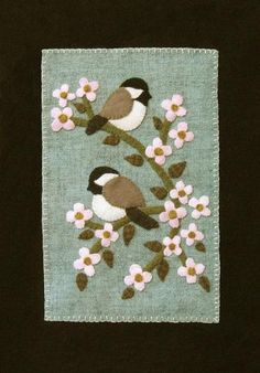 """Chickadees! in Spring. Wool Banner 9 1/2"""" x 13""""."""