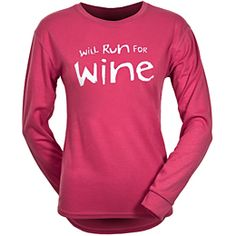 """One More Mile """"Will Run for Wine"""" Long Sleeve Tee Lady"""