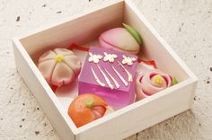 beautifully detailed japanese sweets in a box