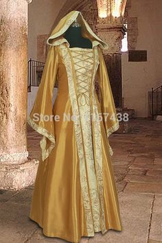Cheap dresses ball, Buy Quality clothing stores dresses directly from China dress protectors Suppliers:  Medieval Dress Gown in Gold and Cream Renaissance Costume Clothing with hood Condition: Brand New Shown Color: Gold Sle