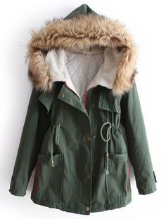 Green Fur Hooded Long Sleeve Drawstring Pockets Coat pictures