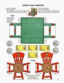 Paper doll house, Dinette and Furniture Paper Furniture, Doll Furniture, Dollhouse Furniture, Paper Doll House, Paper Houses, Paper Toys, Paper Crafts, Instruções Origami, Vintage Paper Dolls