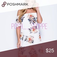 Off shoulder dress Off shoulder  White with floral print  Crepe fabric Short sleeves  Ships by next friday or saturday Dresses