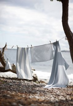 drying clothes on the seashore