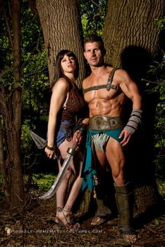 Spartacus and Sura in the woods Cool Couple Halloween Costumes, Halloween Costume Contest, Halloween Diy, Homemade Costumes, Diy Costumes, Dark Beauty, Boyfriend, Wonder Woman, Cosplay
