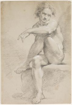 Seated Male Nude, unknown Ubaldo Gandolfi (Italian, 1728 - 1781) Drawing, oiled black chalk heightened with white chalk on light tan paper, laid down, 43.1 x 29.2cm Gift of American Friends of the Art Gallery of Ontario, Inc. through the generosity of Dennis and Mary Bunyan, 2006