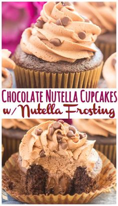 Simple chocolate cupcakes, filled with a heaping mound of Nutella, and topped with fluffy Nutella frosting.
