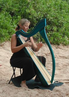 Kristine Snyder, harpist, beach wedding