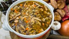 """CHICKEN BARLEY SOUP Dorit Kemsley of """"The Real Housewives of Beverly Hills,"""" is making a delicious soup packed with flavor! **Just remember… Pasta Salad Recipes, Healthy Soup Recipes, Beef Recipes, Chicken Recipes, Cooking Recipes, Drink Recipes, Healthy Meals, Healthy Food, Dinner Recipes"""