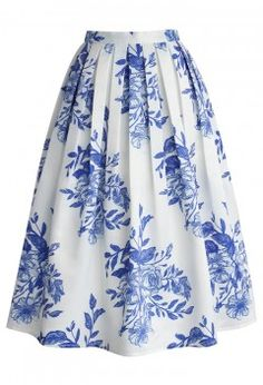 Blue Floral Sketch Pleated Midi Skirt - Bottoms - Retro, Indie and Unique Fashion