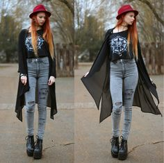 Tally Weijl Crop Top, H&M Diy Distressed Jeans, Demonia Platform Boots, H&M Asymmetric Blouse, Ashley Bridget Baggins Bracelet
