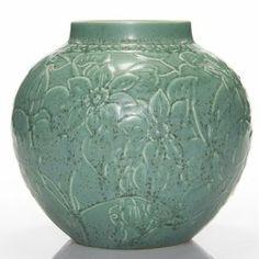 "Rookwood Green Crystalline Production Vase,1963, 7"""