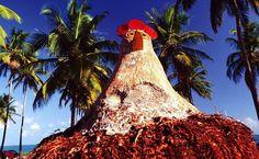 Os turistas não deixam de tirar fotos ao lado das galinhas esculpidas em tronco de coqueiro, em Porto de Galinhas