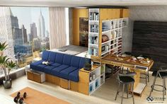 Small studio apartment 20 ideas. Couch in front of bed, Multi-functional furniture, shelves to be used as walls.